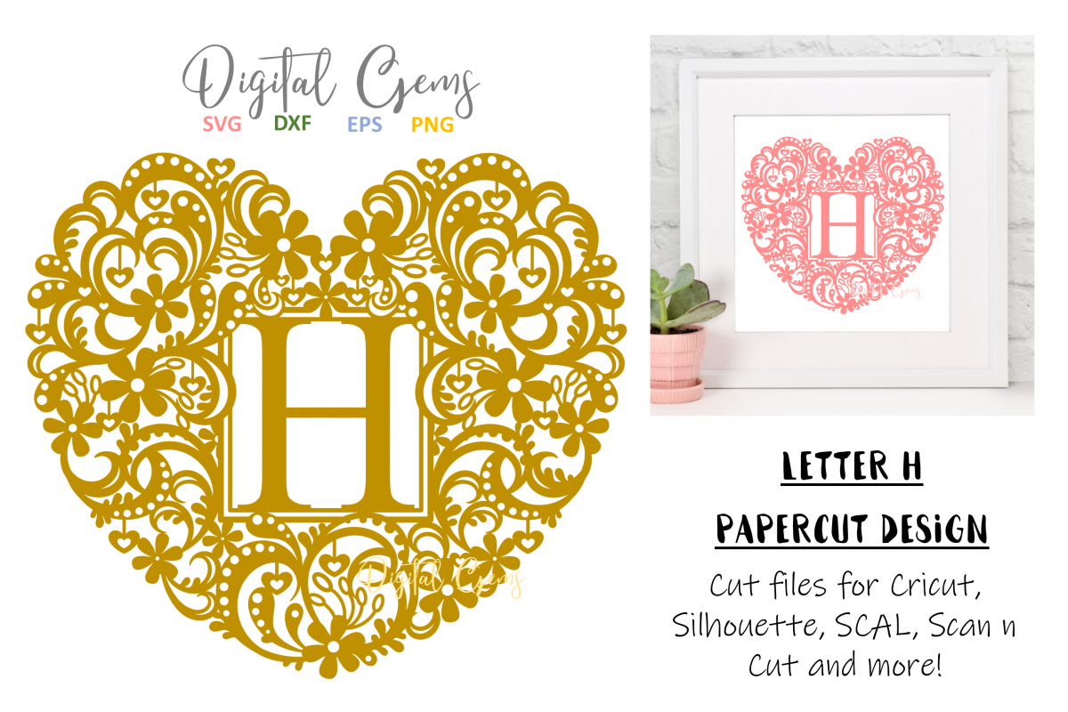 Letter H paper cut design. SVG / DXF / EPS / PNG files example image 1