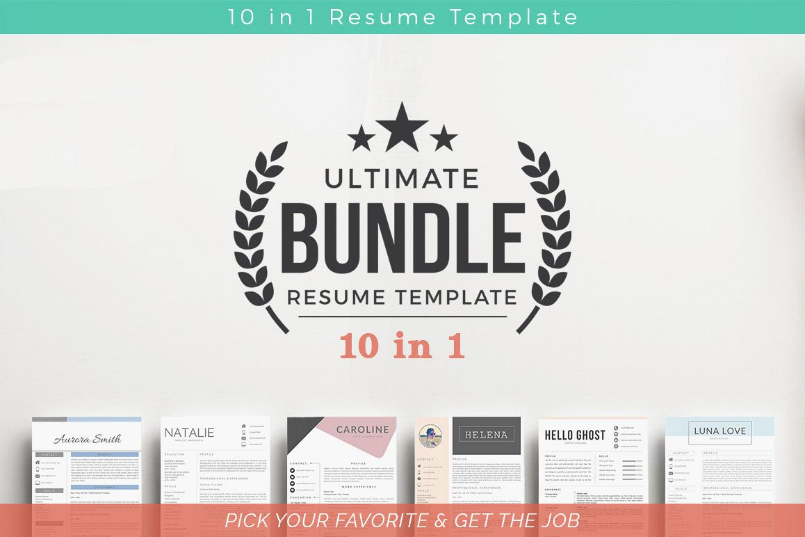 ULTIMATE BUNDLE Resume Template 10 in 1 example image 1