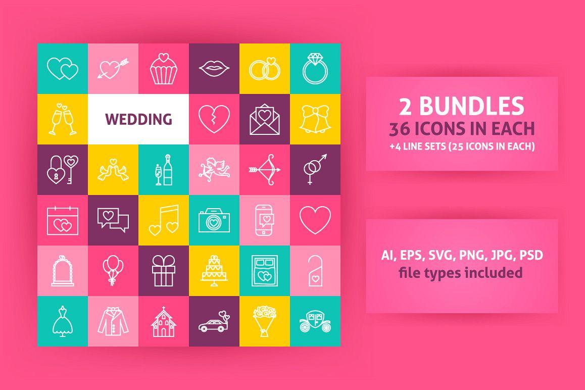 Wedding Line Art Icons example image 1
