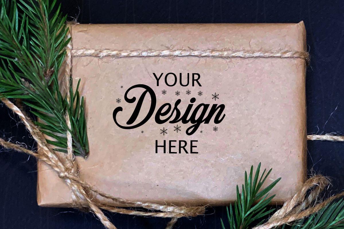Gift Box Mockup Christmas mock up Personalized Box Holiday example image 1