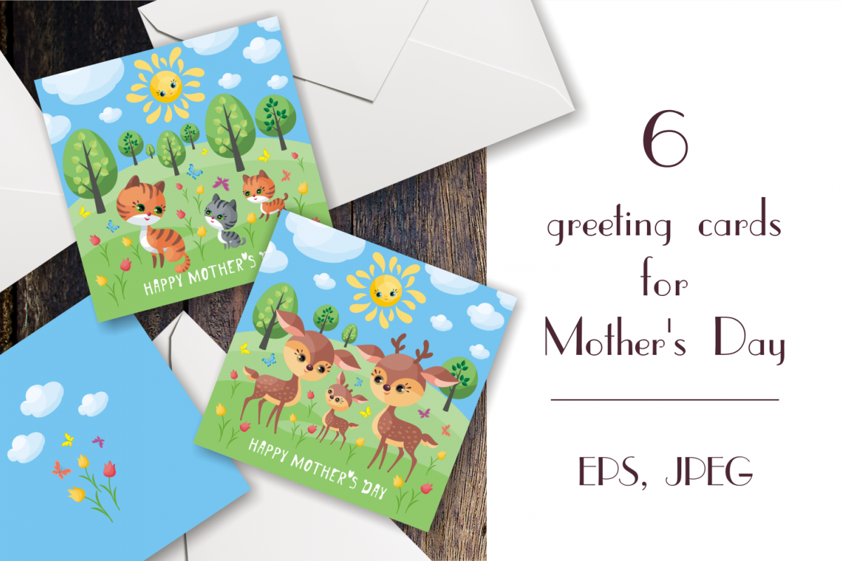 Happy Mothers Day Greeting Cards With Cute Animals
