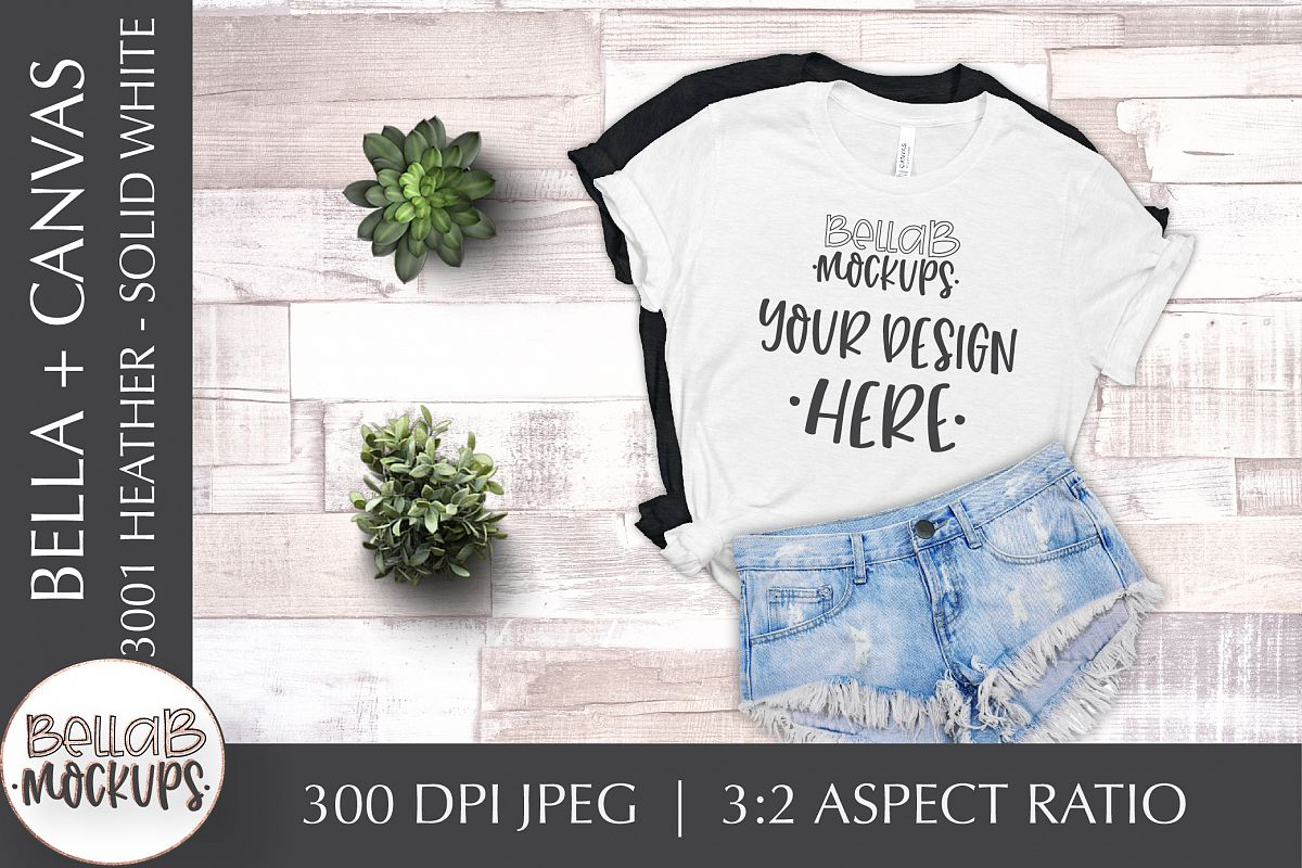 Bella Canvas 3001 Heather Woman's T Shirt Mockup, White example image 1
