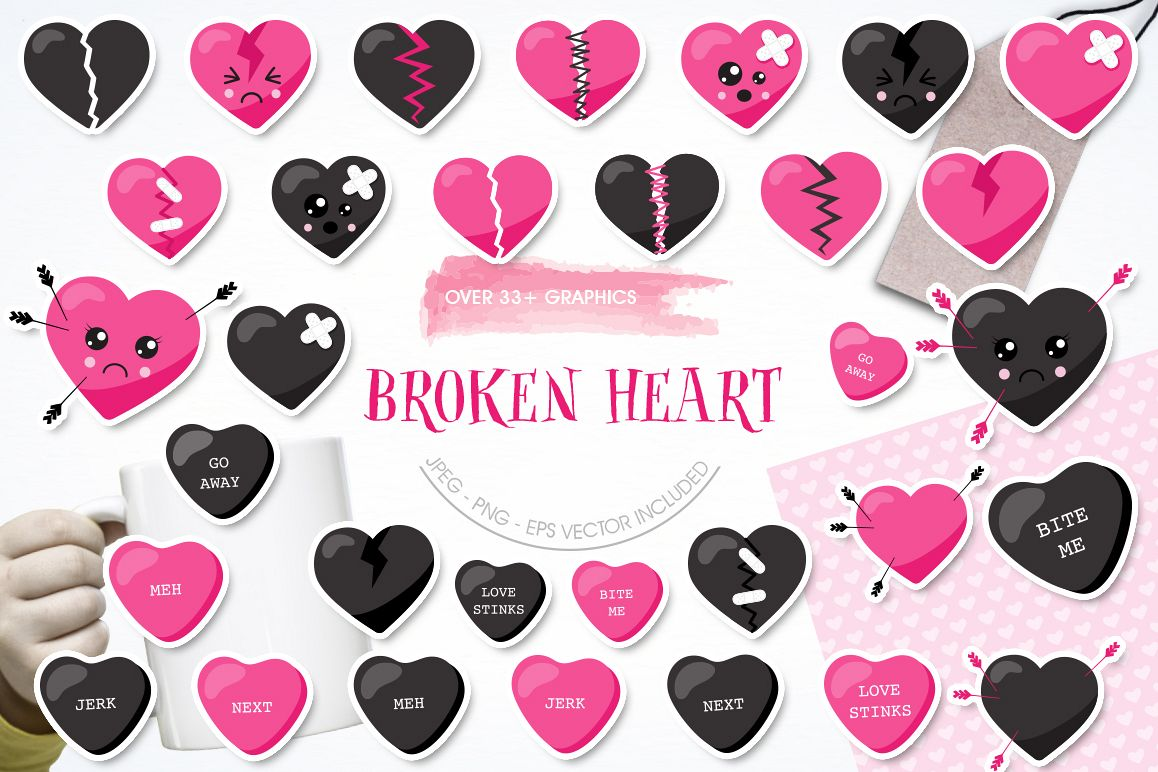 Broken Heart graphic and illustrations example image 1