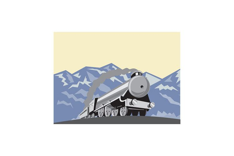 Steam Train Locomotive Mountains Retro example image 1