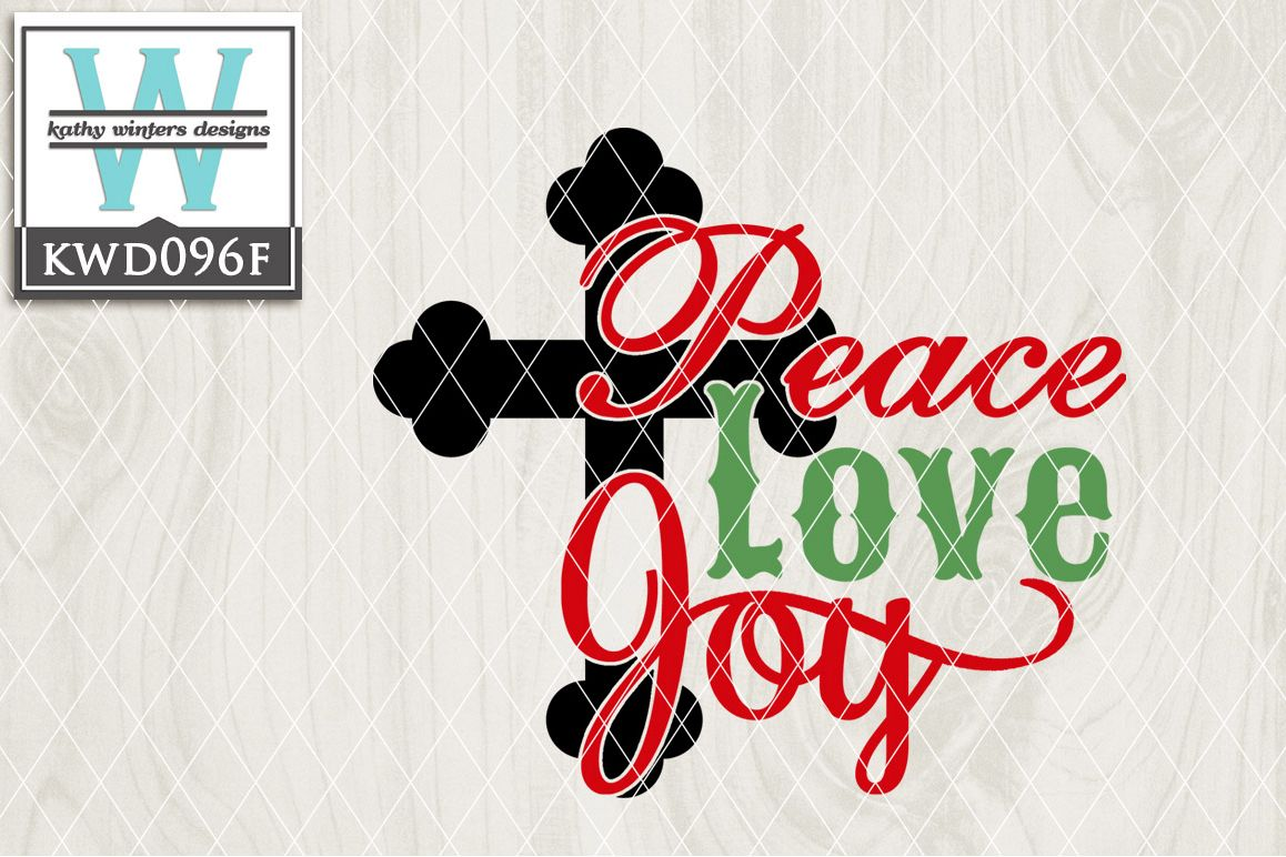 Christmas SVG - Peace Love Joy KWD096F example image 1