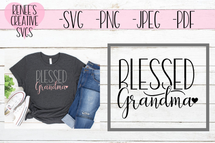 Blessed Grandma w/ Heart | Mothers day | SVG Cut File example image 1