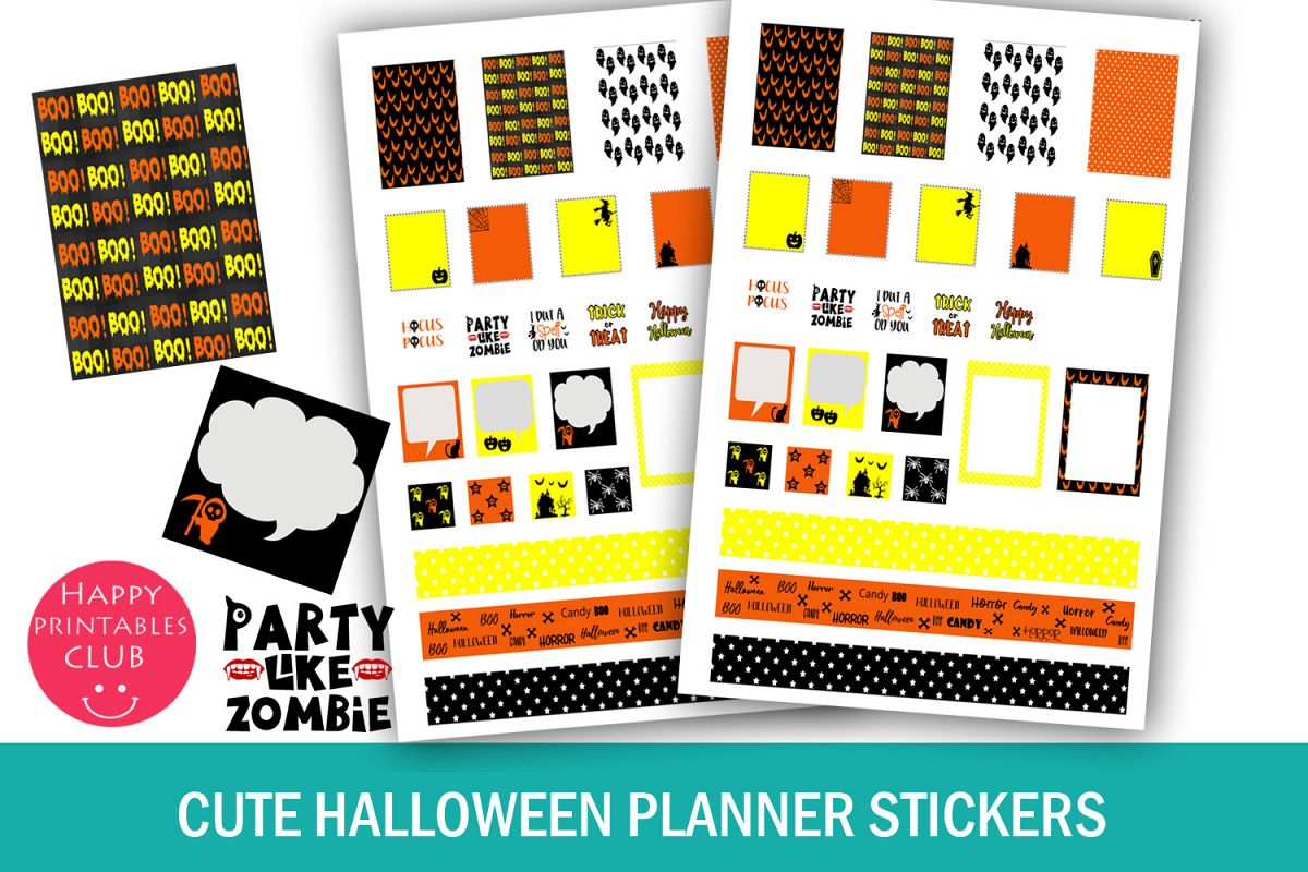 Cute Halloween Planner Stickers- Printable Halloween Sticker example image 1