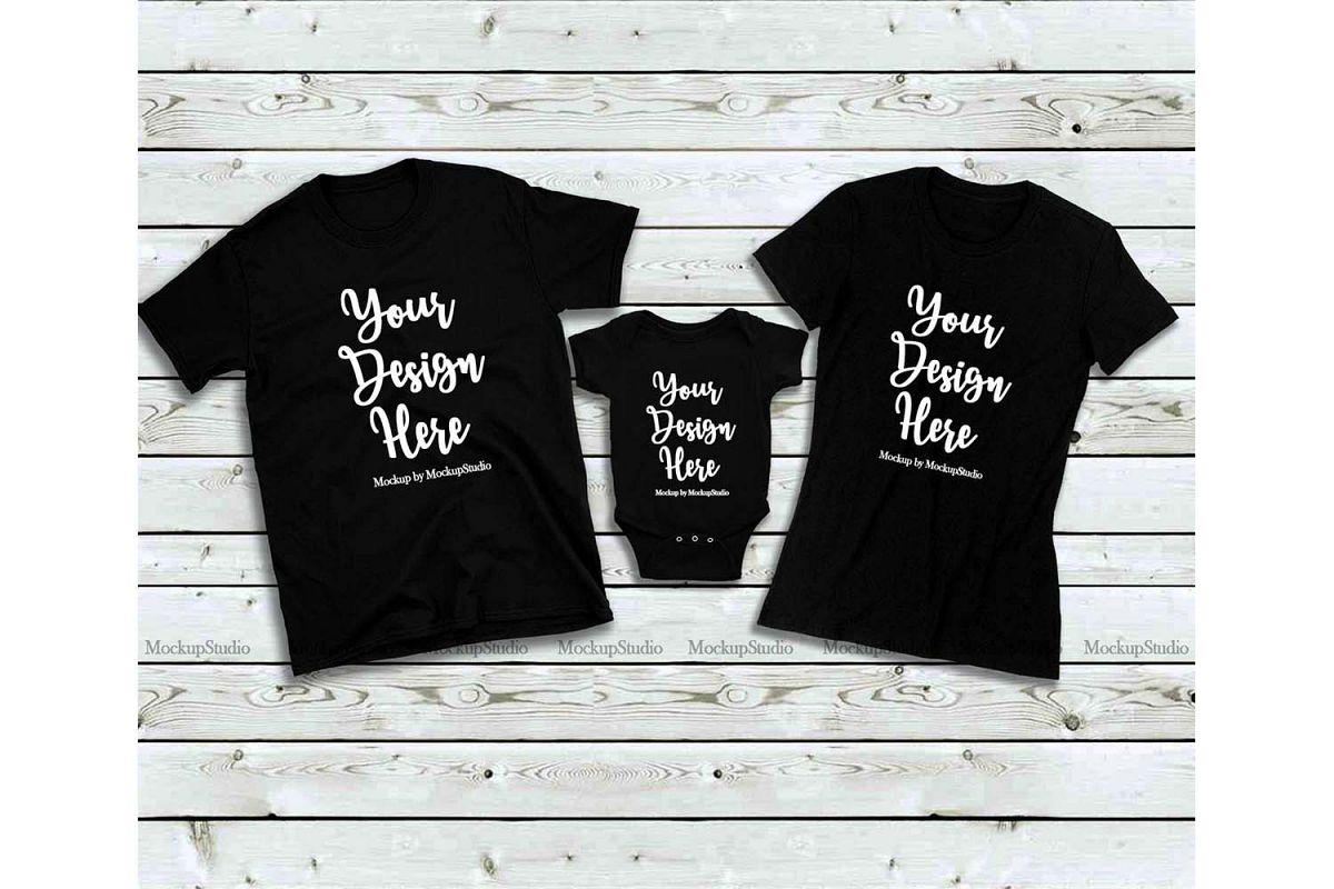Matching Family Black T-Shirts Mockup, Baby Bodysuit Set example image 1
