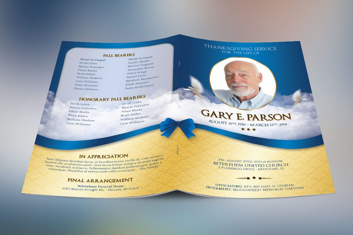 Blue Ribbon Funeral Program Template example image 1