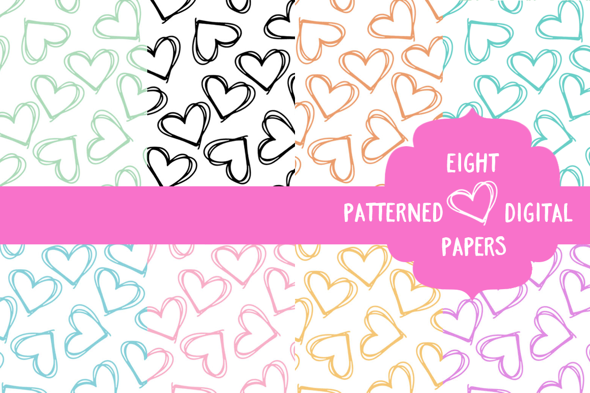 Doodle Patterned Heart Papers example image 1