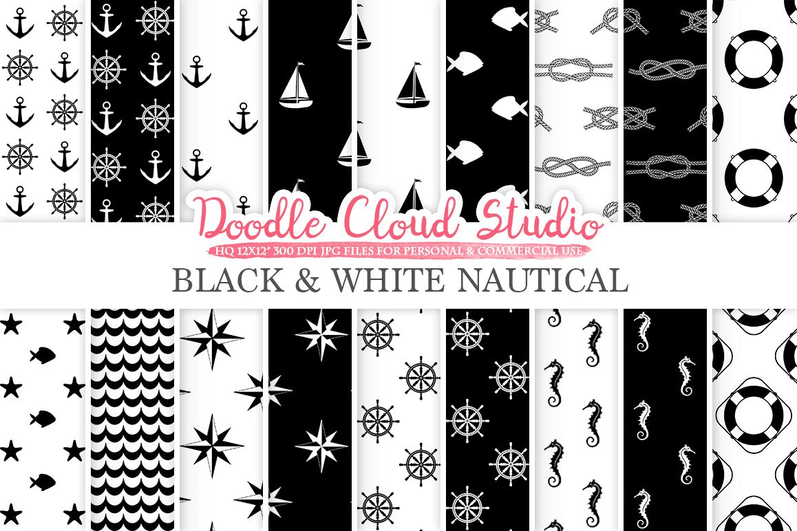 Black and White Nautical digital paper, Seal patterns Ocean Steering wheel Sea waves Anchor background for Personal & Commercial Use example image 1