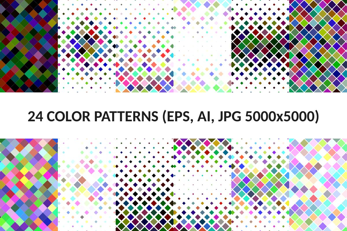 24 Multicolored Square Patterns (AI, EPS, JPG 5000x5000) example image 1