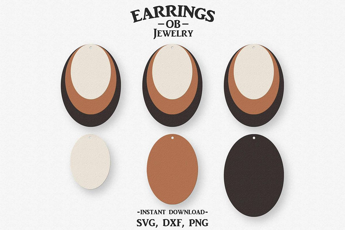 Earring Svg, Teardrop, Stacked, Cut File example image 1