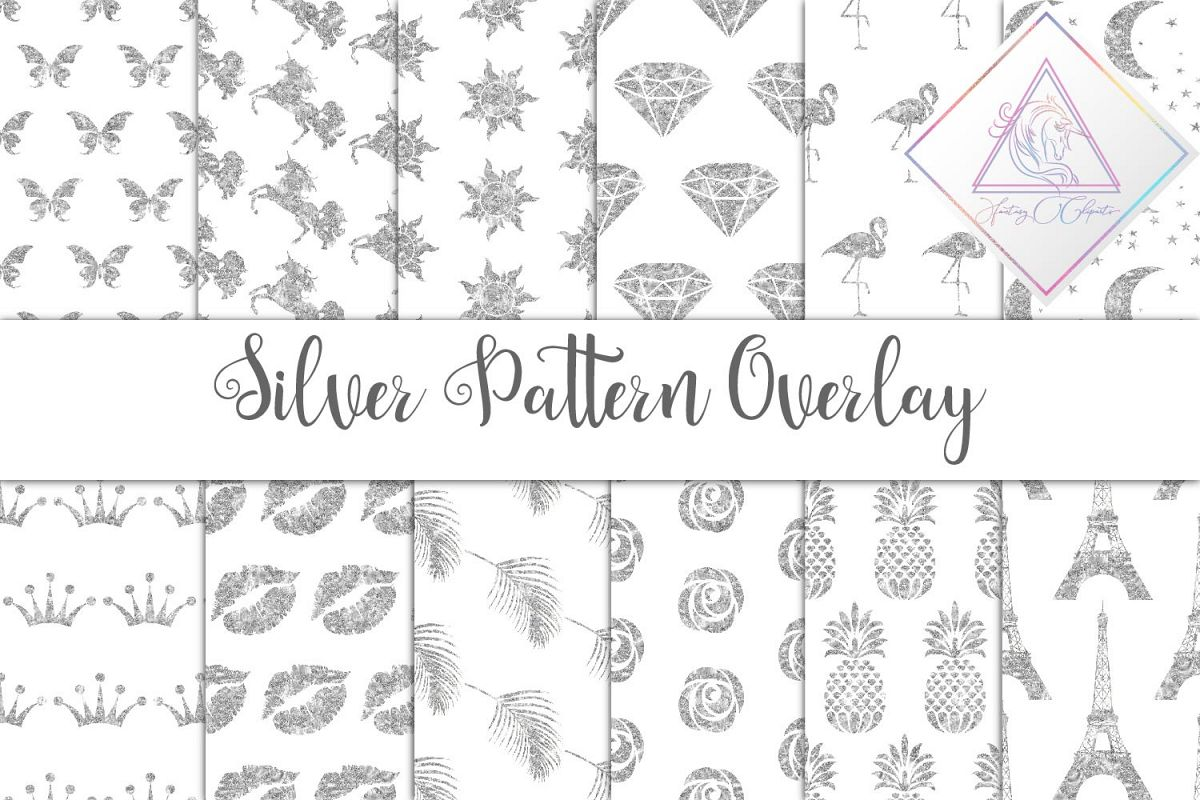 Silver Glitter Seamless Pattern Overlay Clipart example image 1