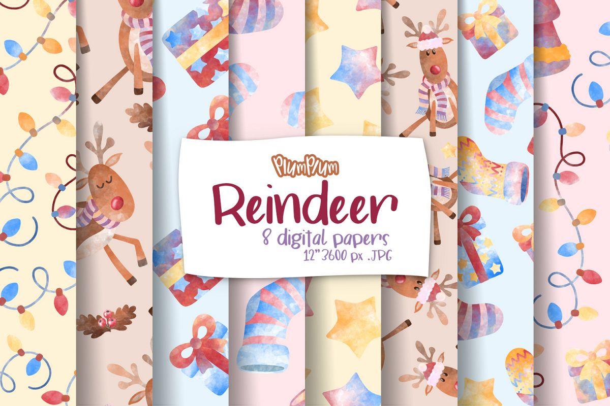 Reindeer Digital Papers example image 1