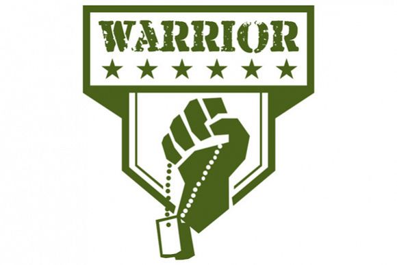 Soldier Hand Clutching Dogtag Warrior Crest Retro example image 1
