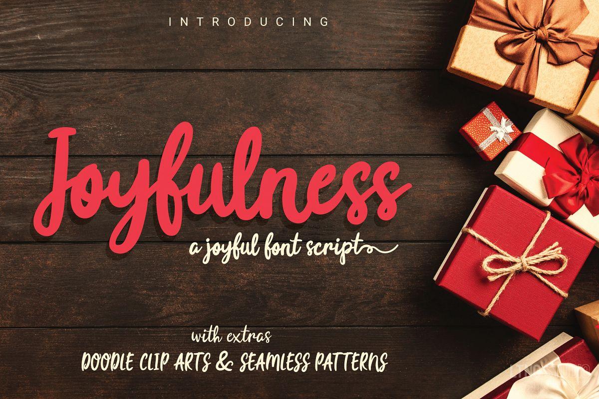 Joyfulness Script Font with Extras example image 1