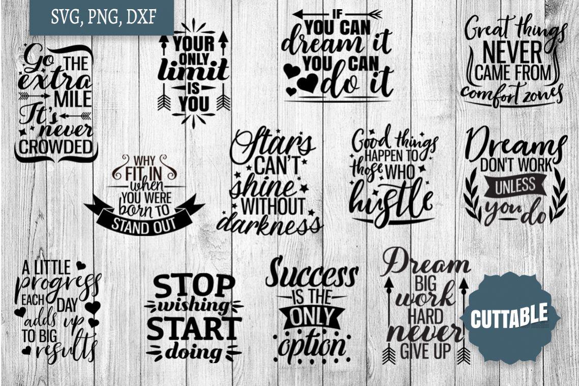 Motivational SVG bundle, Inspirational quote cut file bundle example image 1
