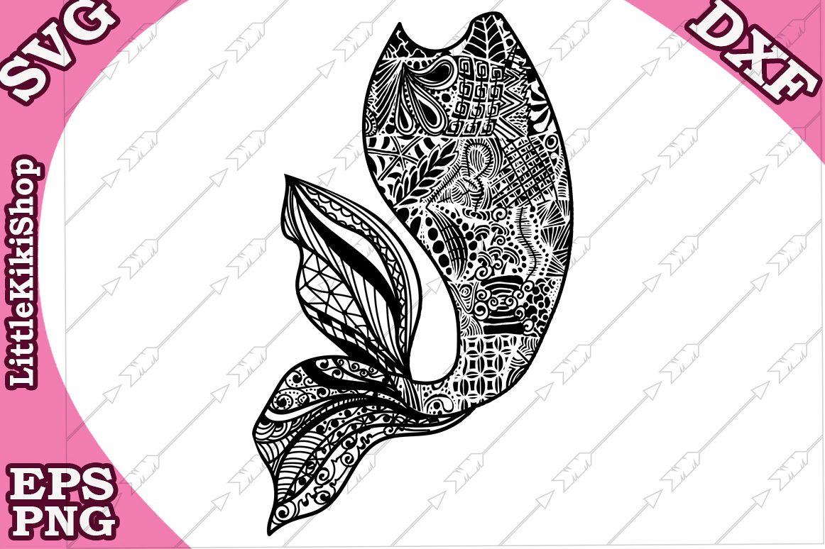 Mermaid Tail Svg,MANDALA MERMAID SVG,Zentagle Mermaid Svg example image 1