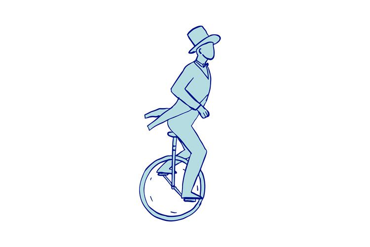 Circus Performer Riding Unicycle Drawing example image 1