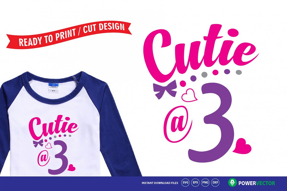 Third Birthday Svg - Cutie at 3 Baby Girl Outfit Design example image 1