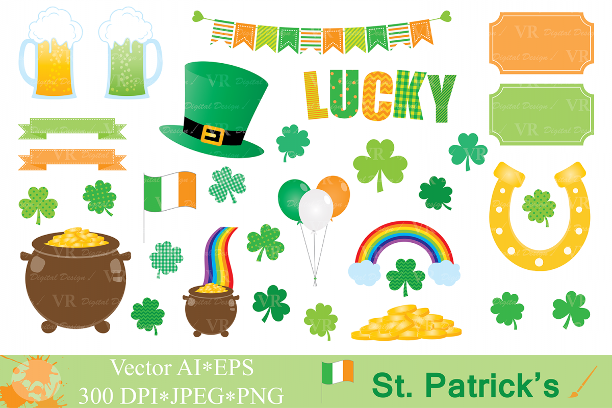 St Patrick`s Day Clipart / Irish Orange and Green Clip art / Shamrock / Clover / Vector Graphics example image 1