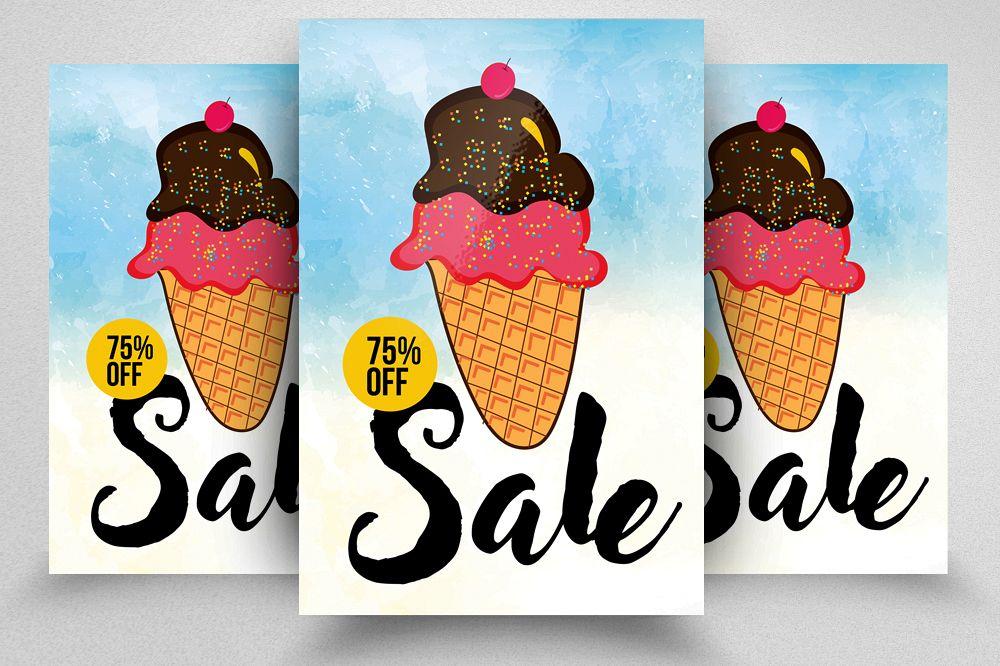Ice Cream Discount Typography Flyer example image 1