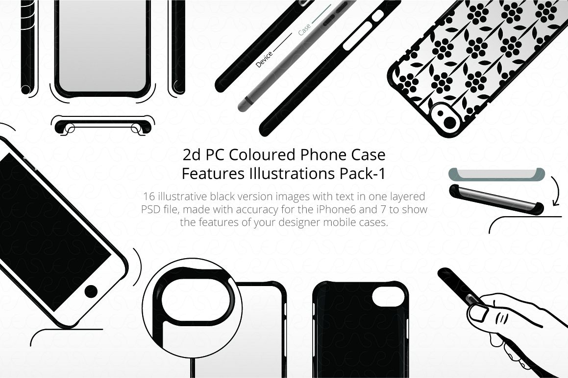 2D PC Colored  Case Features Illustrations Pack 1 example image 1