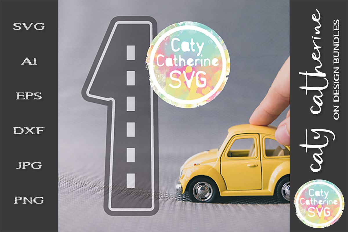 Road Map Kids Birthday Number One SVG Cut File example image 1