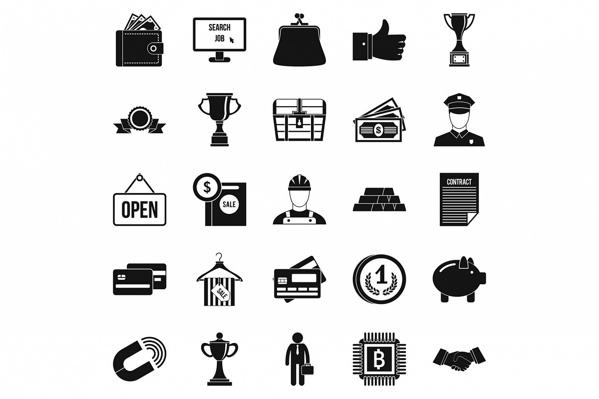 Cost icons set, simple style example image 1