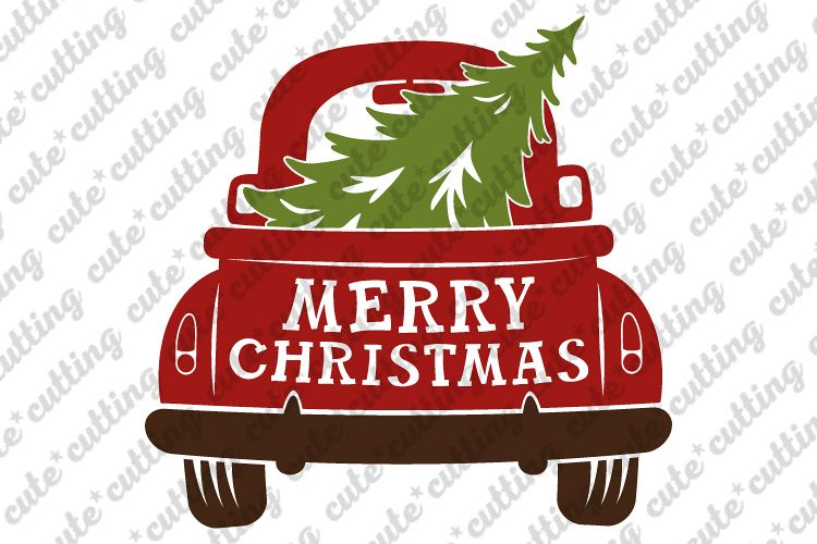 Christmas truck back with tree svg, dxf, pdf, jpeg, png example image 1
