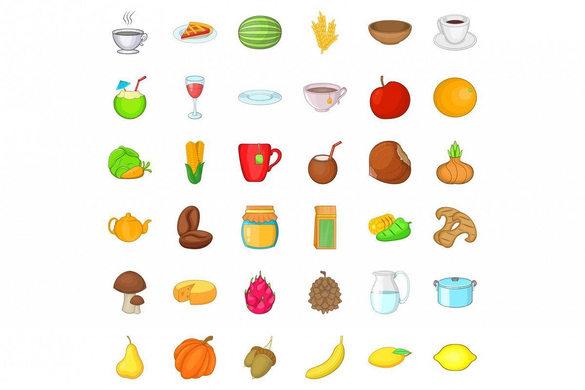 Vegetarian kitchen icons set, cartoon style example image 1