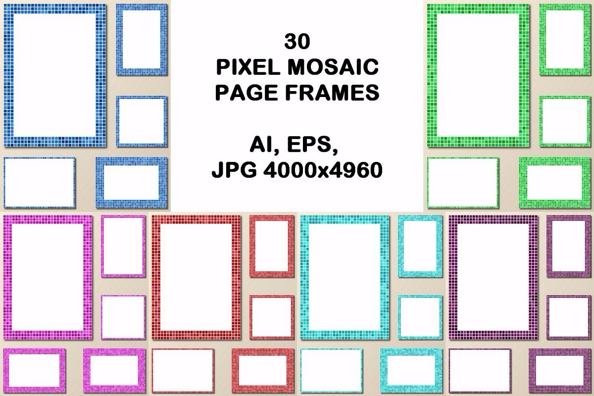 30 pixel mosaic page frames (AI, EPS, JPG 5000x5000) example image 1