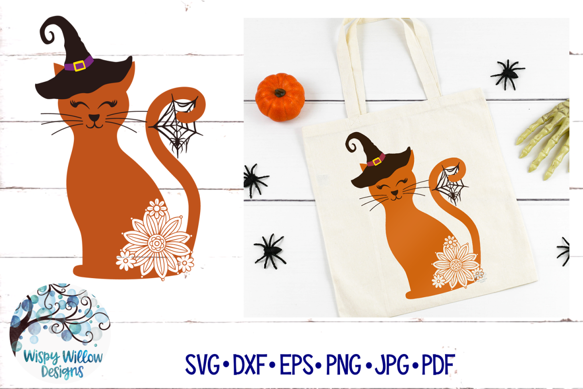Spooky Witch Cat SVG | Halloween SVG | Fall SVG Cut File example image 1