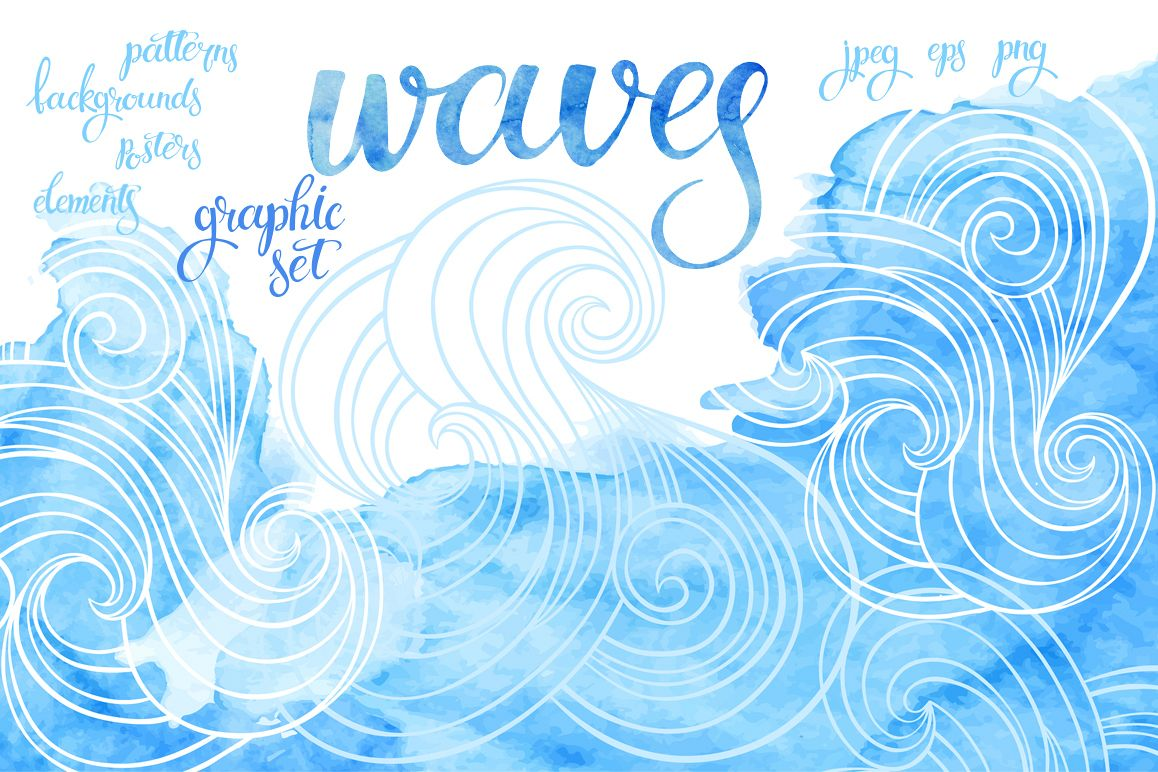 Waves. Graphic set. example image 1