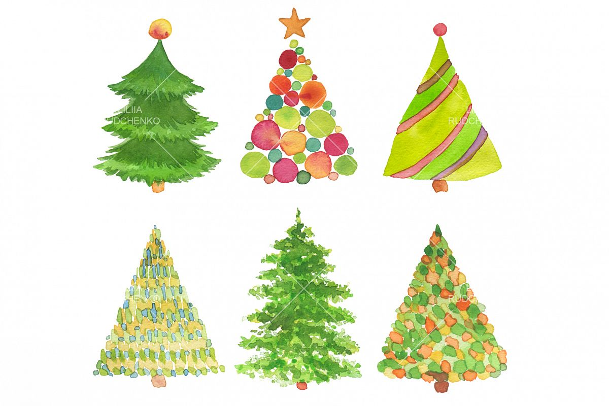 Set of watercolor hand painted Christmas tree. (131880 ...