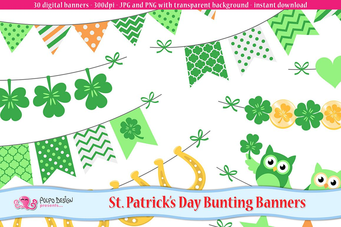 St. Patrick's Day bunting banners clipart example image 1