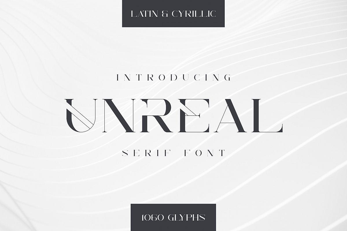 Unreal serif font - Latin & Cyrillic example image 1