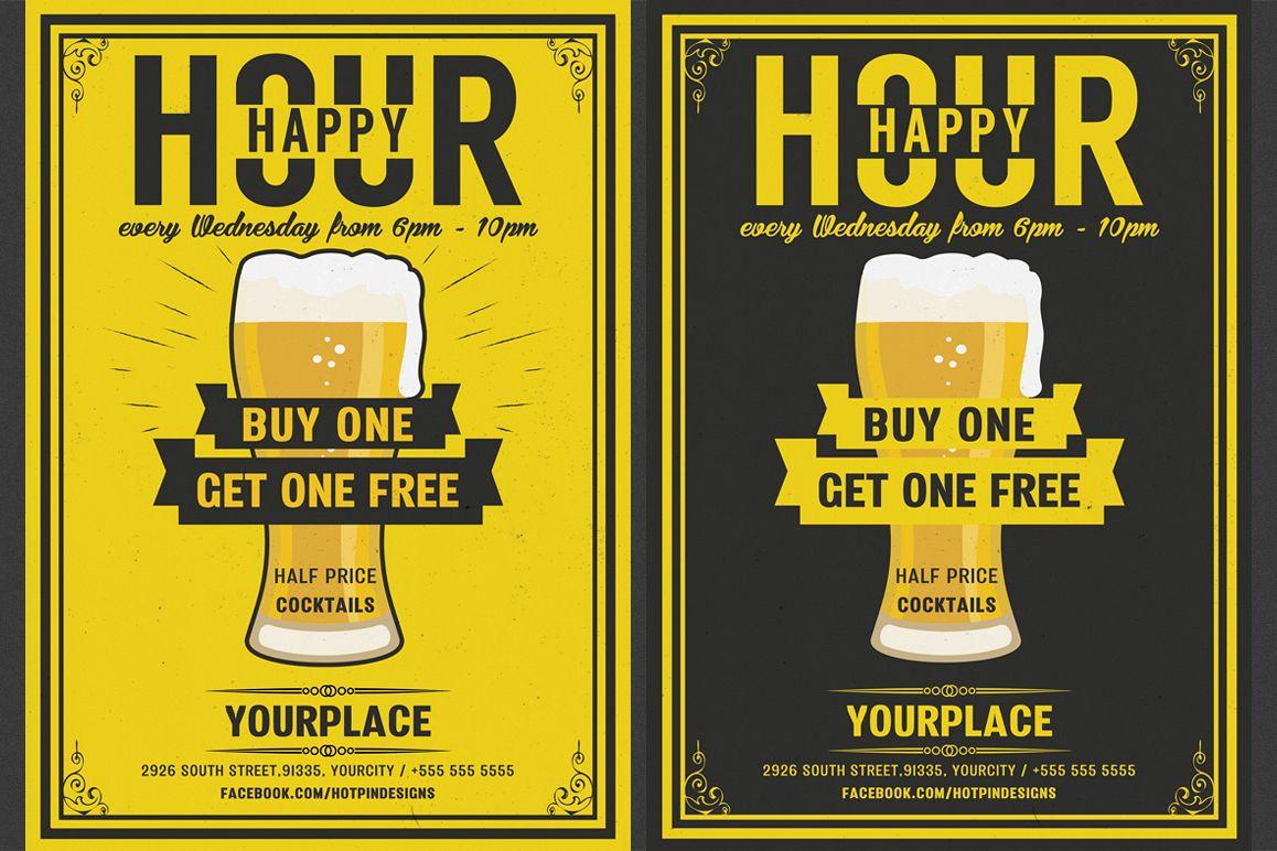 Beer Happy Hour Flyer example image 1