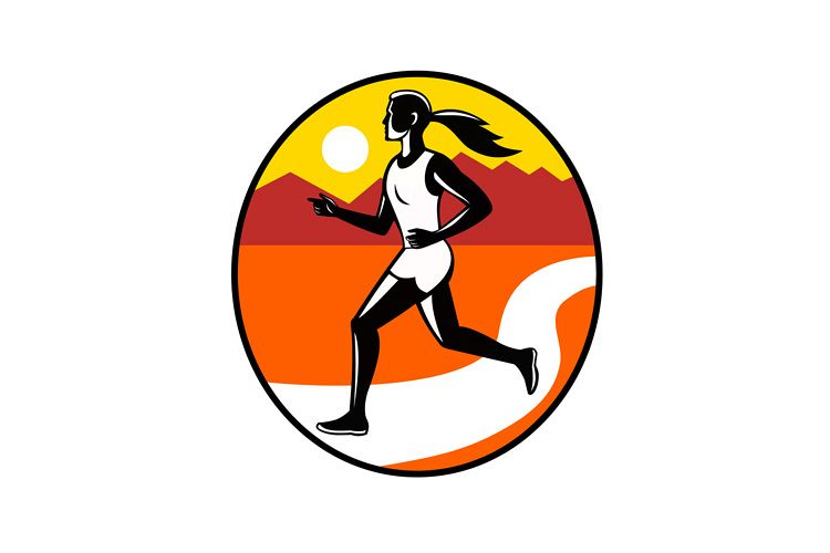 Female Runner Mountains Oval Retro example image 1