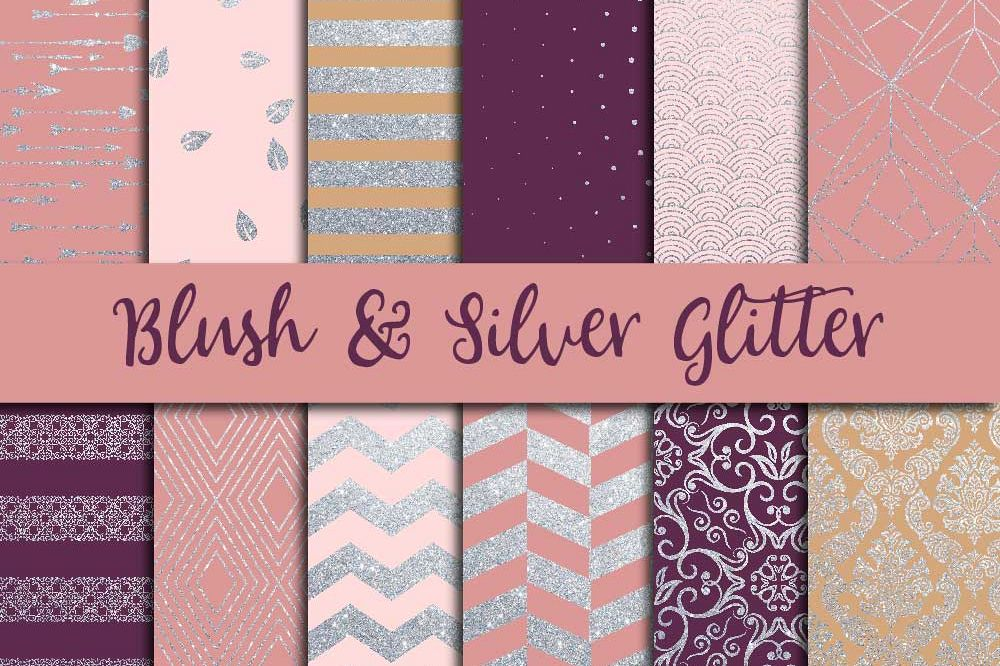Blush Pink & Silver Glitter Digital Paper example image 1