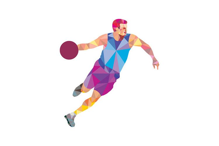 Basketball Player Dribble Front Low Polygon example image 1