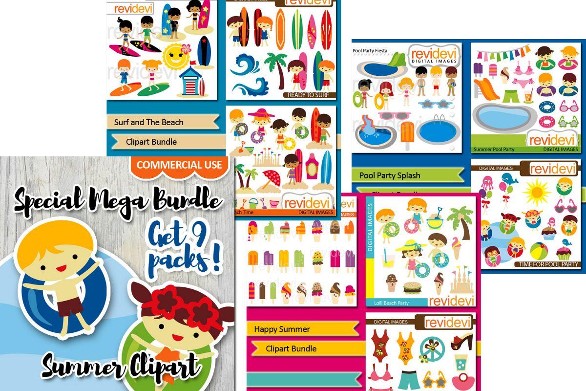 Summer Activities Clip Art Graphics Big Bundle Example Image 1