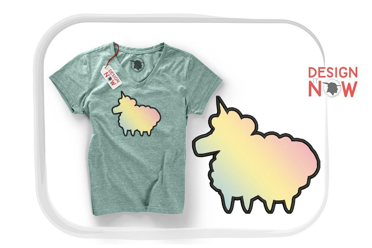 Unicorn Sheep Applique Embroidery Design, Unicorn Embroidery example image 1