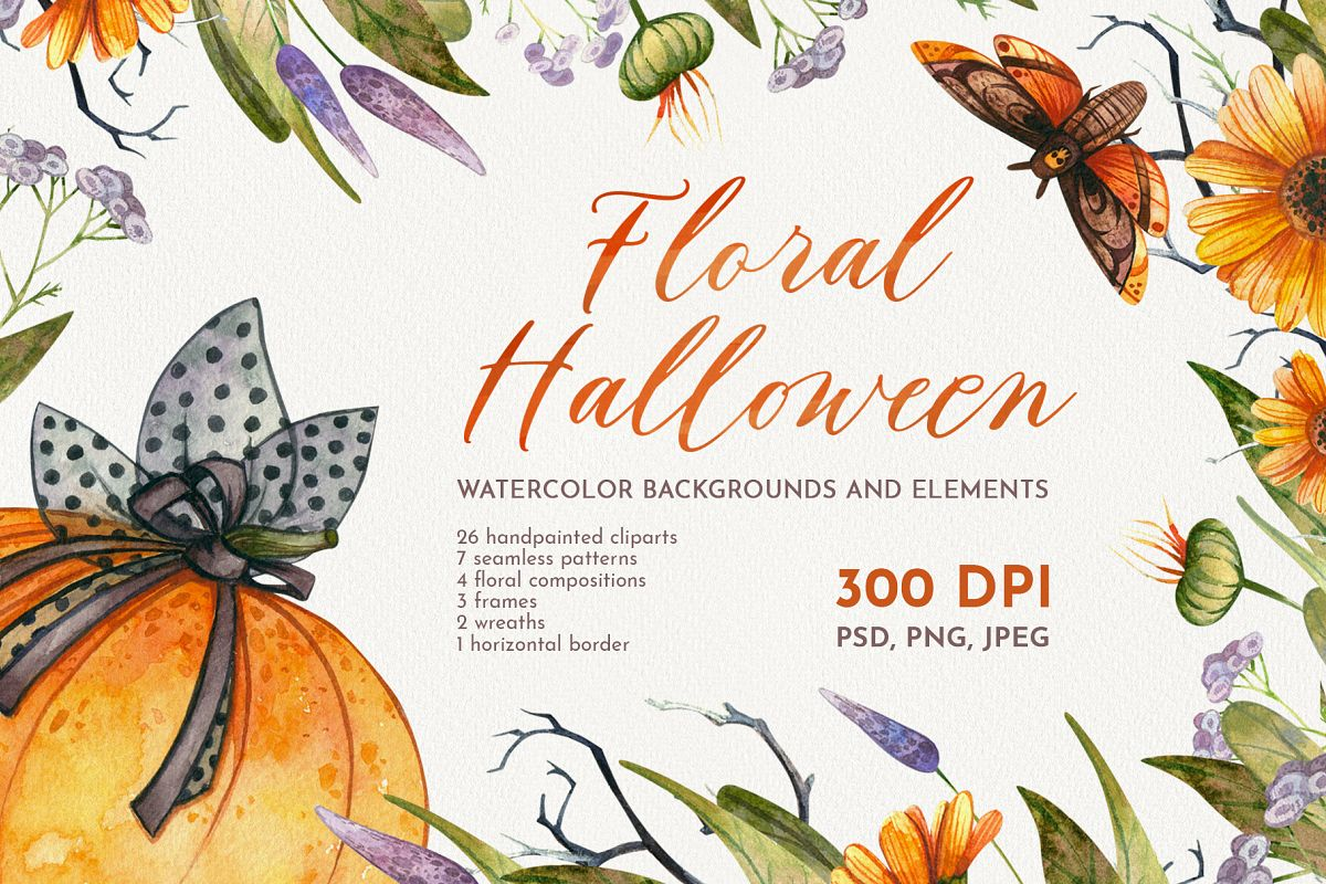 Floral Halloween. Watercolor backgrounds and elements example image 1