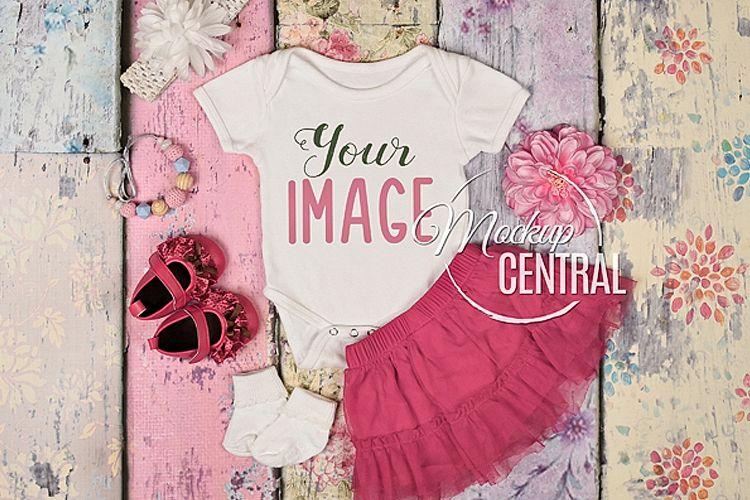 Pretty Baby Girl's Onepiece Bodysuit Mockup Shirt Theme JPG example image 1
