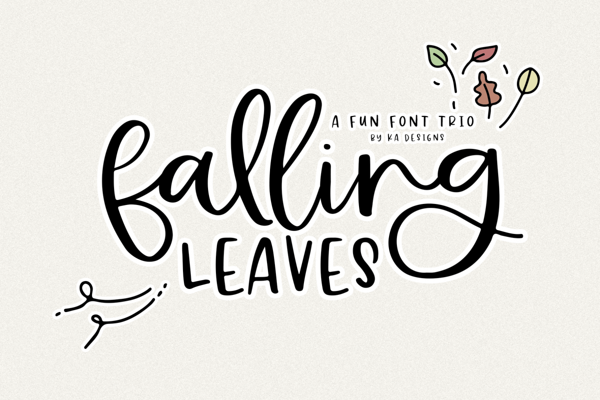 Falling Leaves - A Font Duo with Doodles example image 1