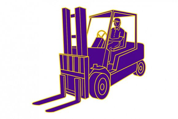 Forklift Truck Mono Line example image 1