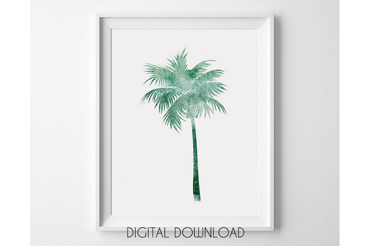 photograph relating to Palm Tree Printable called Palm Tree Printable Wall Artwork, Eco-friendly Palm Tree Poster