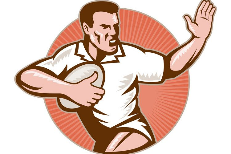 rugby player running with ball fending off example image 1